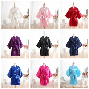 Bata de noche de satén para las mujeres color puro Satén corto sedoso albornoz ropa de dormir camisón pijama kimono batas de dama de honor ropa para el hogar