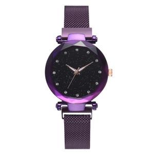 Mejor venta de la marca Simpl Fashion Women Watch Elegante Temperamento Señoras Imán Mesh Band Relojes Mujer Classic Starry Sky Purple reloj