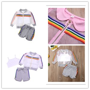 INS Kids Girl Sun Protection Clothing Sets Rainbow Stripes Zip Jacket+Crop Tank Vest+Drawstring Shorts 3 Pcs Clothig Sets 80-120Cm E22504