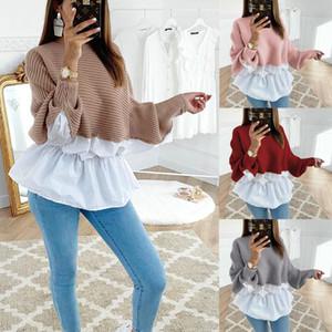 Sonbahar Kış Şık Tunik Gömlek Patchwork Casual O Yaka Uzun Kollu Ruffles Kahve Kore Bluz Gömlek Sokak aşınma Giyim