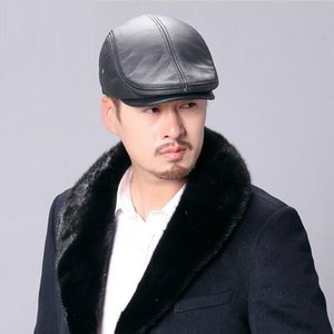 Leather Beret Cap Male Genuine Leather Winter Korean Version Recreational Hat Warm Cowhide Middle-aged Elderly Male Caps H6934