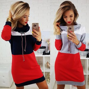 Women's summer dress 2020 Europe and the United States cross-border hot sale hope women's wild turtleneck color matching slim long-sleeved d
