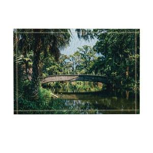 Steinbogenbrücke über Fluss im Park mit Bäumen Badteppiche Rutschfeste Fußmatte Bodeneinstiege Outdoor Indoor Haustürmatte Kinder