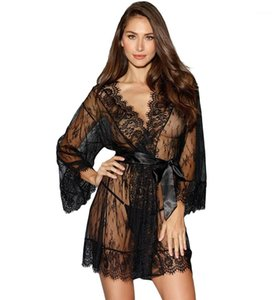 Color Lace Underwear Deep V-neck See Through Sleepwear Female Clothing Loose Womens Designer Sexy Pajamas Solid