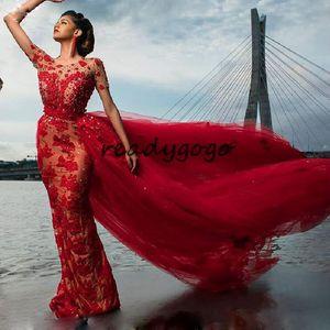 Red Luxury Mermaid Prom Abendkleider mit abnehmbaren Zug Langarm Spitze Perlen 3D Floral Arabisch Dubai Anlass Abendkleid Wear