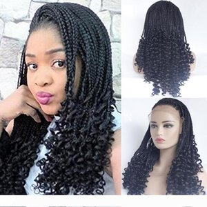 Natural Color Micro Braiding with Curly Tips Synthetic Lace Front Wigs Free Parting Braids Braided Wigs Heat Resistant Fiber Half Hand Weave