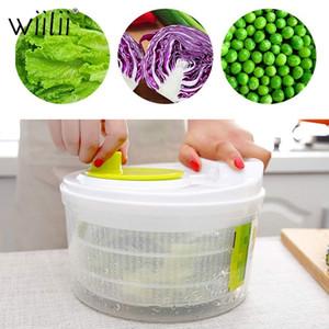 Wiilii Salade Spinner laitue Verts Lave-linge égouttoir Crisper Passoire pour le lavage séchage légumes-feuilles Cuisine Outils T200323
