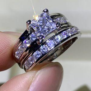 Victoria En Çok Satan Çift Vintage takı 925 gümüş Prenses kesim Beyaz Safir CZ Diamond Kadınlar Düğün Gelin Yüzük Set çaldırır