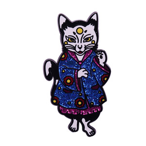 Lucky cat glitter lapel pin magic witch flair art addition