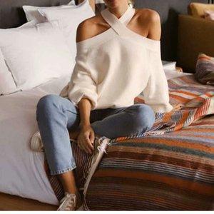 Europa e nos Estados Unidos Atacado 2019 Inverno de duas cores Off-ombro camisola de malha de Loose Women bonito Knit Sweater Mulheres
