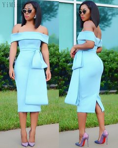 Light Sky Blue Sheath Prom Dresses Off Shoulder Sash Tea Length Short Formal Women Evening Party Gowns Cocktail Dress Customized Cheap