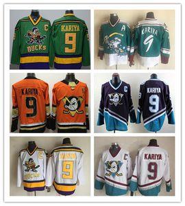 Maillot de cinéma Mighty Ducks 9 Paul Kariya cousu Vintage CCM Anaheim Wild Wing Paul Kariya avec le maillot de hockey C