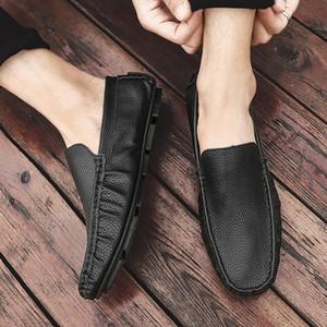 2020 Лето Квартиры Горох обувь Мужчины моды коровьей мужчина Мокасины ручной работы конструктора Мужчины Обувь Мокасины скольжению на Soft бездельников Мужчина