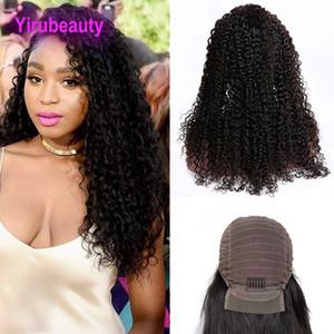 Péruvien 13X4 avant de lacet perruques Kinky Curly Naturel Couleur Perruques de lacet de cheveux humains 8-24 pouces avant de lacet Kinky Curly Afro Virgin cheveux