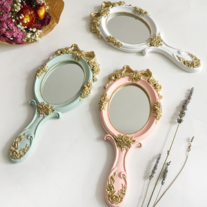 1pcs Cute Creative Wooden Vintage Hand Mirrors  Vanity Mirror Rectangle Hand Hold Cosmetic Mirror with Handle for Gifts