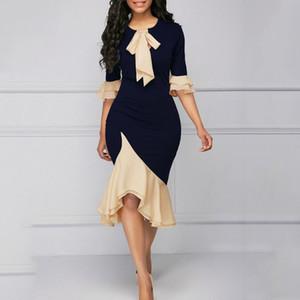 2019 estate Vintage ufficio elegante signora Women Dresses Mermaid del chiarore del manicotto dell'arco del collare asimmetrici Falbala ragazze sexy abito femminile