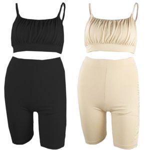 Estate delle donne aderente 2 pezzi Outfit cinghia di spaghetti di balze Bassiera a vita alta Biker Shorts Solid maniche della tuta di colore