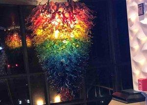 Décor de Noël arc-en-couleur de grande taille LED Murano Art Pendentif lumières Lustres en verre soufflé à la bouche sur les ventes