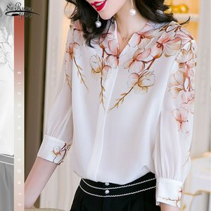 2020 Summer New Casual Loose Simple White Satin Shirt Women Elegant Printed V-neck Short-Sleeve Silk Blouse Chemisier Femme 9720