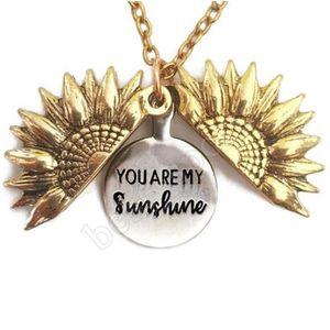 Einzigartige Design Sie sind mein Sonnenschein Gravierte Halskette Sunflower Locket Halskette kann offen Anhänger Halskette Geschenk ZZA1317