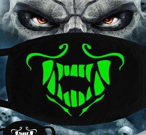 Maske leuchtendes Gesicht Halloween-Skelett-Partei-Schablonen-Antistaub Zähne Glow Mundmaske Dunkel in der Nacht Schädel-Maskerade-Masken Cosplay GGA3514-10