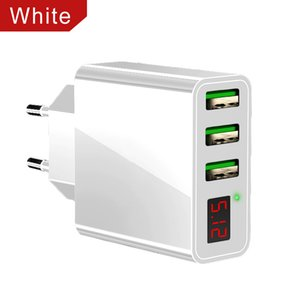 3 USB Quick Charging Phone Charger LED Display For iPhone Xiaomi Samsung 3 Ports Fast Wall Adapter TurboCharger