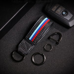 1X ألياف الكربون جلدية مفتاح بعيد KeyChain KeyRing حامل صالح لسيارات BMW بنز أودي