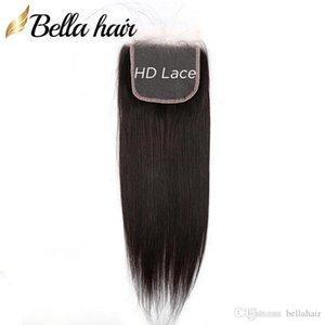 9A HD Lace Closure 4x4 100% Virgin Human Hair Closure Free Middle Three Part Top Closures with Baby Hair Natural Color Bella Hair