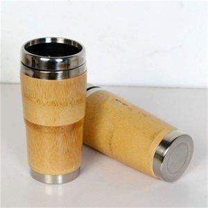 Intérieur en acier inoxydable Bambou Café Coupe de matières premières Coupes d'eau avec couvercle Coupe du véhicule pratique facile à utiliser et à l'extérieur Accueil 26 8jfH1