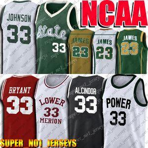 Università Lebron James Maglie Lew Alcindor Jersey Michigan State NCAA Earvin Johnson Jersey Abdul Jabbar maglie pallacanestro Jersey 4-20