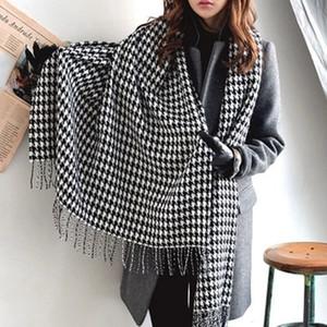 2019 dello scialle della sciarpa del nuovo di modo inverno zampa di gallina lungo con frange per le donne / ragazza libera di trasporto T191022