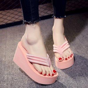My-Love 9cm Frauen-Perlen-Strand-Flipflop-Sommer-Hoch starke untere Blumen Beleg Sandalen Bling-Stil weibliche Mode Slides