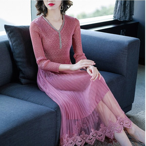 Special Pleats Stitching Embroidered Lace Dress Elegant Lace V-Neck Women Vintage Hollow Out Pleated dress Prom Party Dresses