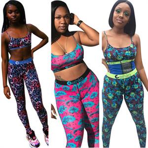 Leopar Çiçek Kadınlar Mayo Spor Yukarı Bra Yelek + Pantolon Leggings 2 Adet Kıyafetler Hızlı kuruyan Mayo Yaz Spor Suit 2XL itin yazdır