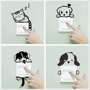 Xxyyzz Diy 재미 귀여운 잠자는 고양이 개 스위치 스티커 벽 스티커 데칼 홈 인테리어 침실 거실 응접실 장식 C19022701
