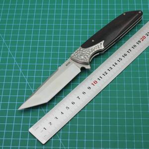 D2 alliage de titane de lame en acier + poignée de bois de santal rouge roulement en acier Couteau pliant portable dureté élevée pointu EDC tactique Couteau pliant