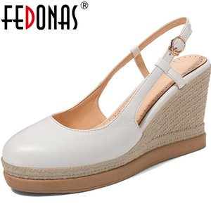 FEDONAS Top Quality Wedged Platforms High Heels Pumps Metal Buckle Round Toe Women Shoes Party Dancing Fashion 2020 Shoes Woman