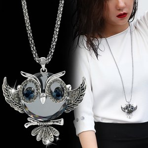 DuoTang Classic Fox Owl Necklace Silver Color Long Popcorn Chain Animal Crystal Rhinestone Pendant Necklace for Women Gift Jewelry
