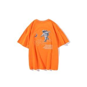 Fashion Men' s T-shirt 2020 New Summer Arrive trend cartoon astronaut print short sleeve top Ins loose cotton tee man 4 Corlor Size M-2XL