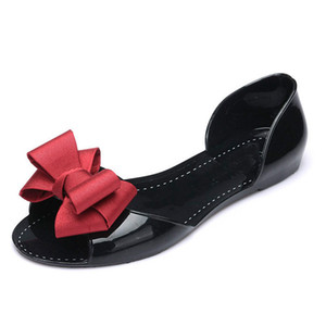 Women Flat Sandals Beach Jelly Shoes Woman Summer Bowtie Outdoor Slippers Slip On Sandalias Women Shoes