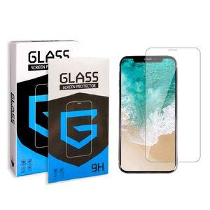 Protetor de tela para iPhone 11 PRO MAX XS Max XR XS vidro temperado para Samsung A20 A50 A10E Moto G7 Poder Moto E6 LG Stylo 5 K40 na Caixa