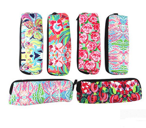 Neoprene pencil bag Makeup Bag Portable school student pencil storage Coral Floral Cosmetic Bag Neoprene Pencil Case With Top Closure GT70