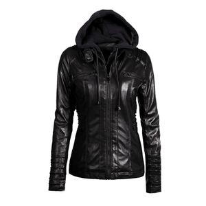 2018 gótico faux jaqueta de couro mulheres hoodies outono inverno motocicleta jaqueta preta outerwear faux leather pu coat hot