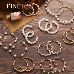 2020 Frauen Einfach Einfach Reines Gold Metal Perlen-Band-Ohrring-Art Big-Band-Statement Ohrringe