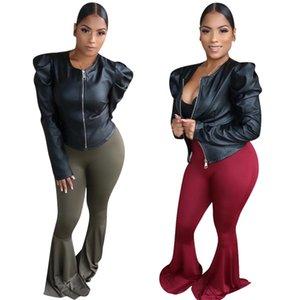 Женская черная кожаная куртка осень зима кожа PU повседневная верхняя пальто мода Puff рукавом пальто черный PU кожаный верхняя одежда ночной клуб носить 2033