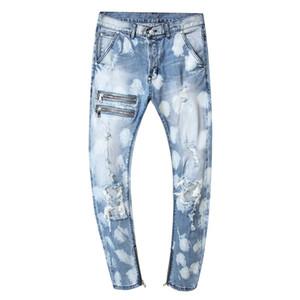 Stretch dünne Mens Jeans Designer Holes Light Blue Homme Jeans-beiläufige plus Größe Männer-Denim-Hosen