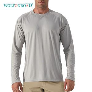 Caminatas al aire libre WOLFONROAD rápido Anti-ULTRAVIOLETA de los hombres de tintorería UPF 50 de manga larga Camisetas Sun proteger la pesca de la piel senderismo Sun Block camisetas de los tops de los hombres