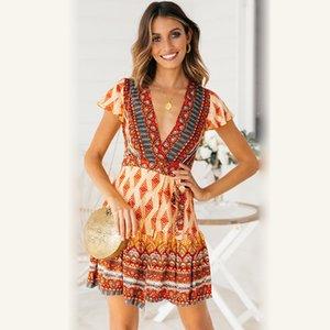 Boho Beach Vacation Nacional Estilo Printed V-neck de 2020 Primavera New Women Dress 4 Cor S-XL