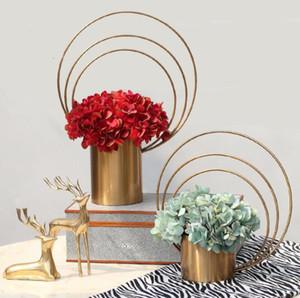 Ferro forma anulare materiale Flower tabella decorazioni matrimonio dimensioni del dispositivo L cerimonia Centerpieces ferro anello materiale fiore basamento di fiore holde