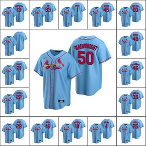St. LouisCardinals #4 Yadier Molina 13 Matt Carpenter 1 Smith Men Women Youth Custom Light BlueReplicaAlternate Jersey